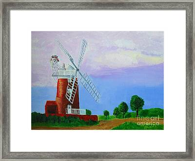 Framed Print featuring the painting Cley Mill by Rodney Campbell