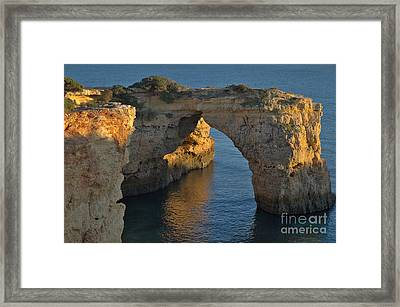 Cliff Arch In Albandeira Beach During Sunset 2 Framed Print