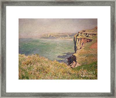 Cliff At Varengeville Framed Print by Claude Monet