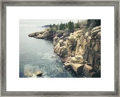 Cliff, Bar Harbor, Me Framed Print