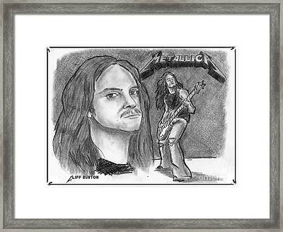 Framed Print featuring the drawing Cliff Burton by Chris  DelVecchio