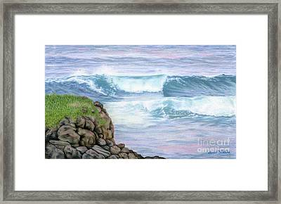 Cliff By The Sea Framed Print by Sarah Batalka