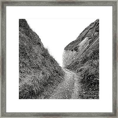 Cliff Cleavage Framed Print by Olivier Le Queinec