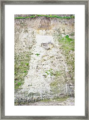 Cliff Damage Framed Print by Tom Gowanlock