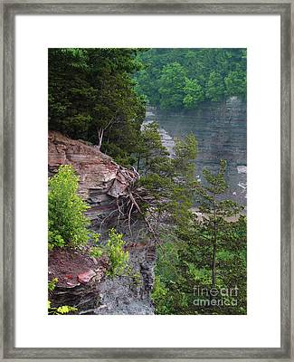 Cliff Hanger Framed Print by Deborah Johnson