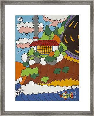 Cliff House Over Ocean Framed Print by Rojax Art
