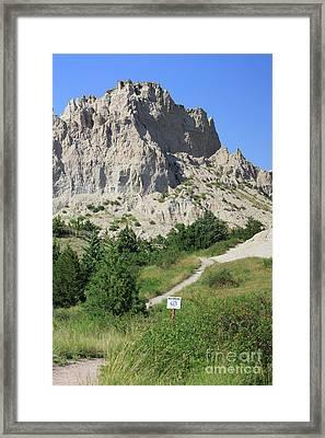 Cliff Shelf Trail In Badlands National Park South Dakota Framed Print by Louise Heusinkveld