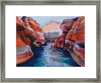 Cliff Tapestries Framed Print by Donna Pierce-Clark