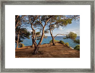 Cliff Top Terrace Viewpoint At Mediterranean Sea Framed Print by Artur Bogacki