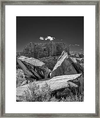 Cliff Wall With Pueblo Bonito Framed Print
