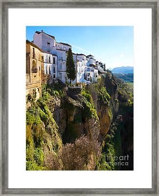 Cliffhouses Ronda Spain Framed Print by Lutz Baar