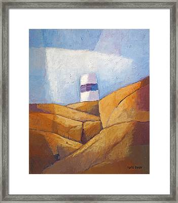 Cliffs And Beacon Framed Print by Lutz Baar