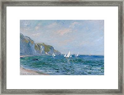 Cliffs And Sailboats At Pourville  Framed Print by Claude Monet