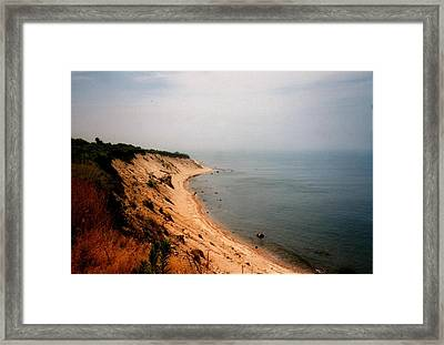 Cliffs Of Block Island Framed Print by Robert Nickologianis