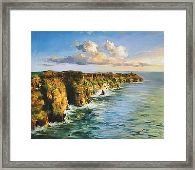 Cliffs Of Mohar 2 Framed Print by Conor McGuire
