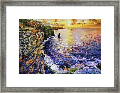 Cliffs Of Moher At Sunset Framed Print by Conor McGuire