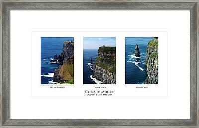 Cliffs Of Moher Ireland Triptych Framed Print
