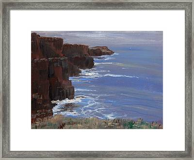Cliffs Of Mohr Framed Print by Cathy France