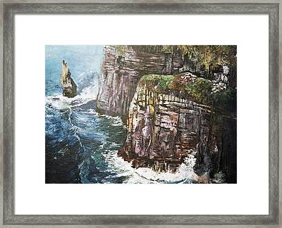Framed Print featuring the painting Cliffs  by Paul Weerasekera
