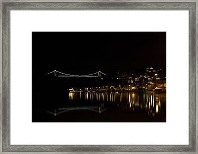 Clifton Suspension Bridge At Night Framed Print by Brian Roscorla