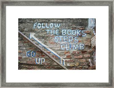 Climb The Books Framed Print by Rainbeau Decker