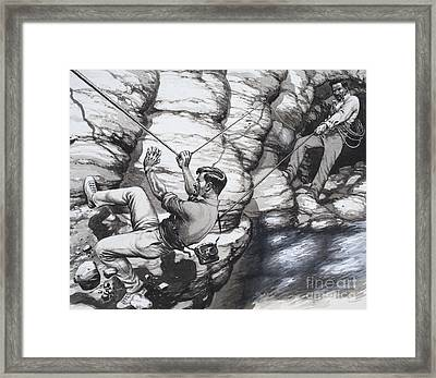Climbing Archaeologists Framed Print by Pat Nicolle
