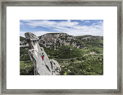 Climbing At The Tre Frati Framed Print by James Rushforth