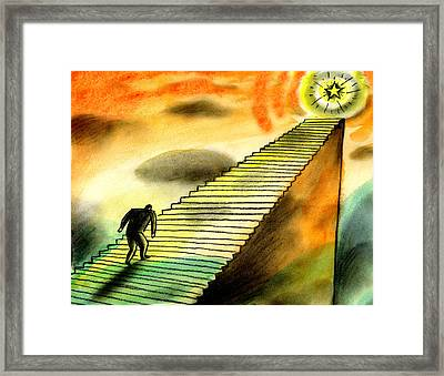 Climbing The Corporate Ladder Framed Print by Leon Zernitsky