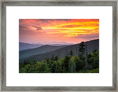 Clingmans Dome Great Smoky Mountains - Purple Mountains Majesty Framed Print