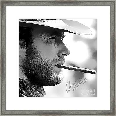 Clint Eastwood Art With Autograph Framed Print