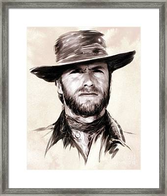 Clint Eastwood Portrait Framed Print by Wu Wei