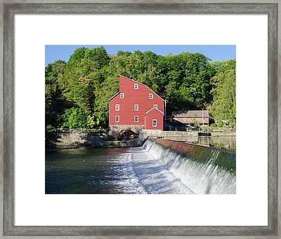 Clinton New Jersey -the Red Mill  On The Raritan River  Framed Print by Bill Cannon