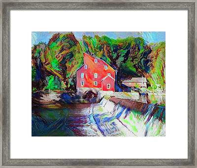 Clinton New Jersey -the Red Mill  On The Raritan River  Watercol Framed Print by Bill Cannon