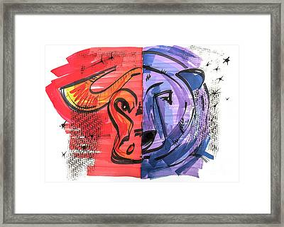 Framed Print featuring the drawing Clip Art Of Bear And Bull Of Stock Market by Ariadna De Raadt