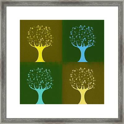 Framed Print featuring the mixed media Clip Art Trees by Dan Sproul