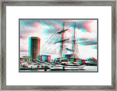 Clipper City - Use Red-cyan 3d Glasses Framed Print
