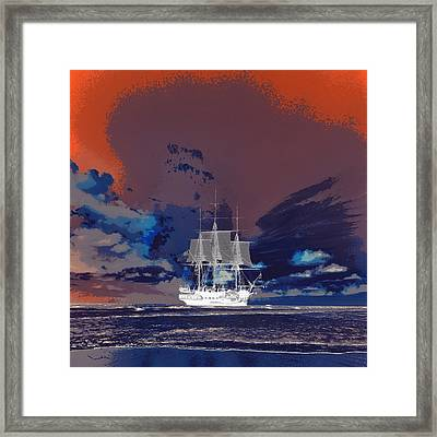 Clipper Ship Sunset Framed Print by Brandi Fitzgerald
