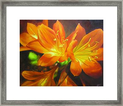 Framed Print featuring the painting Clivias by Chris Hobel