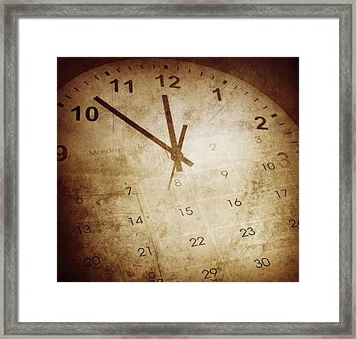 Clock And Cakendar Framed Print by Les Cunliffe