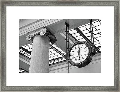 Clock And Column In Saint Paul Union Depot Framed Print