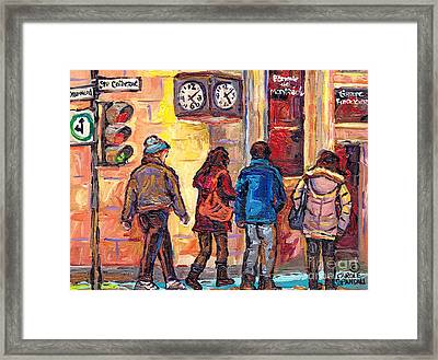 Clock Corner Drummond And St Catherine Downtown Scenes Montreal 375 Original Art Carole Spandau      Framed Print by Carole Spandau