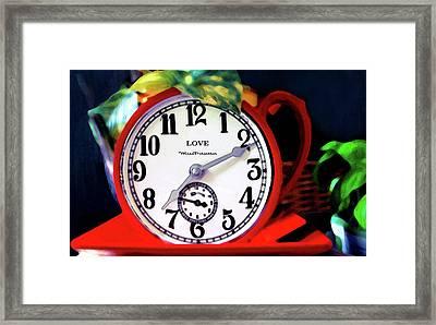 Clock In The Garden Painting  Framed Print