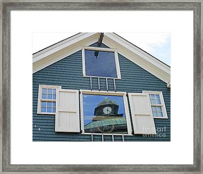 Clock In The Window Framed Print