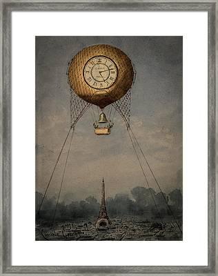 Clock Over Paris Framed Print