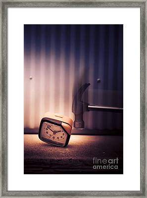 Clock The Hammer Framed Print