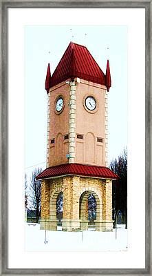 Clock Tower In Czech Village Framed Print by Marsha Heiken