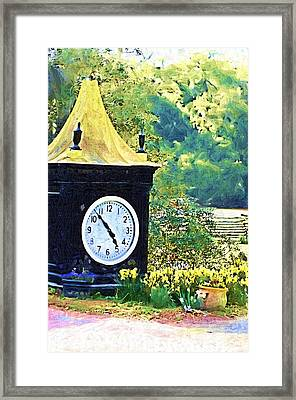 Framed Print featuring the photograph Clock Tower In The Garden by Donna Bentley