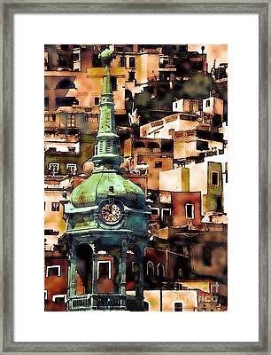 Clock Tower Of Guanajuato Framed Print by Linda  Parker