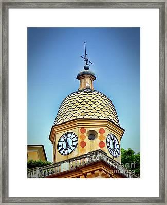 Clock Tower Of Portofino Framed Print by Sue Melvin