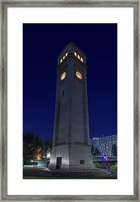 Clock Tower Spokane W A Framed Print by Steve Gadomski